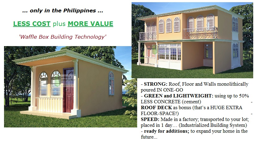 Cost to expand side ward or up wards +/- P395,000 per 20.25 sq.m.
